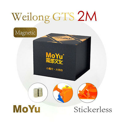 MoYu 3x3x3 Weilong GTS2M Magnetic Magic Cube Speed Puzzle Bright Stickerles