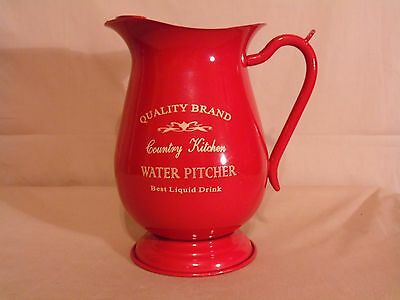 Quality Brand Country Kitchen Water Pitcher Metal Tin RED Tea