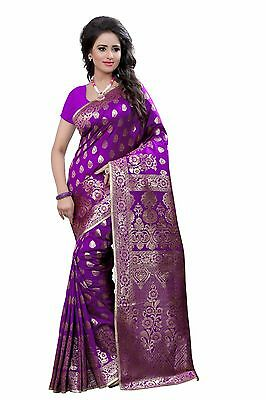 Indian Sari Saree Pakistani Ethnic Purple Woven Banarasi Art Silk -2266