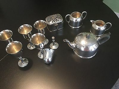 1920's Manchester Silver tea set and set of 6 goblets