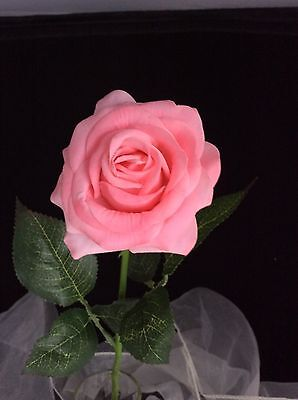 Single Light Pink Coloured Artificial Long Stem Rose