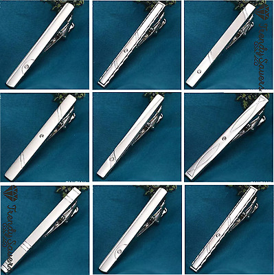 Men's Plain Silver Chrome Stainless Steel Crystal Neck Tie Clip Clasp Bars Pins