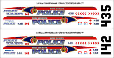 18 Scale York Regional Police Decals -  For Motormax Ford Utility - New Release!
