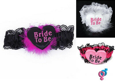 Bride to Be Lace Satin Garter Belt Hen Bachelorette Night Wedding Party
