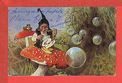H. SCHLITT DWARF blowing bubbles and frog on mushrooms ser. 215 posted 1904