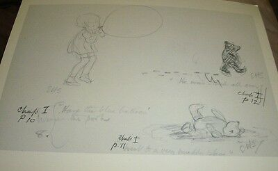 Winnie The Pooh Sketch for Illustration/Chapter 1 Balloons/Print 30x23 cm