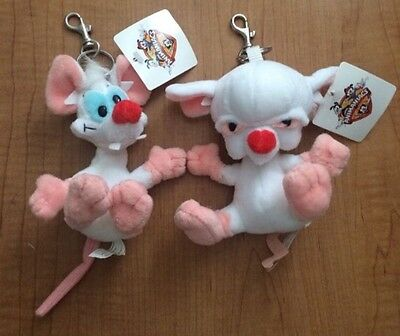 Vintage Pinky And The Brain Plush Keychain 1990's Jaclyn Warner Bros Animaniacs