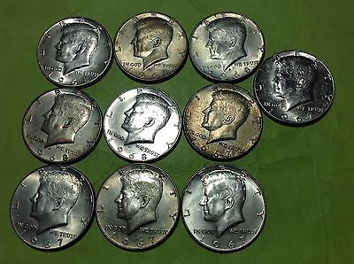 1967 & 1968-D  Silver Clad Kennedy Half Dollars  ( Lot Of 10 Coins )