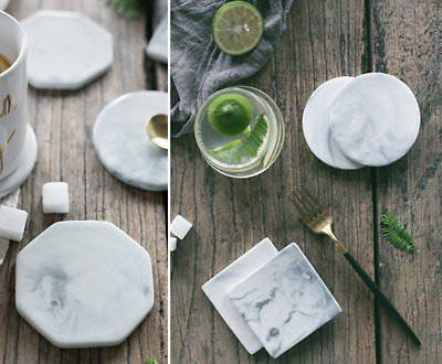 Marble Patterned Decorative Anti-Slip Ceramic Coaster Mat Protect Table Surface