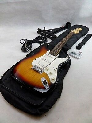 Squier by Fender Strat Stratocaster Electric Guitar Sunburst with Accessories .