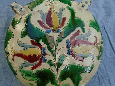 Antique 1890's Fischer? Hungary Volkart Motive Clay Flask Numbered