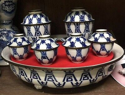 Very Big old Chinese teaset Porcelain with Tray..Chinese Marked...Beautiful