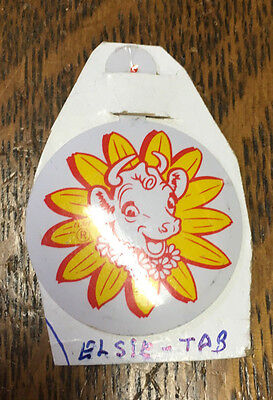 Old Vintage Borden's Dairy Fold-Over Tab Pin Elsie the Cow Tin Litho Yellow Red