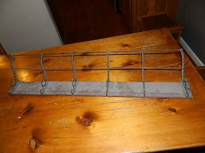 Antique Long 6 Two Step Hooks Coat Hat Rack Vintage Wall Mount Rare Intact