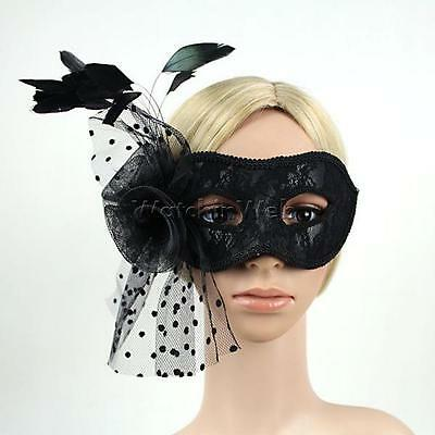 Venetian Party Mask Feather Masquerade Ball Carnival Fancy Dress Black