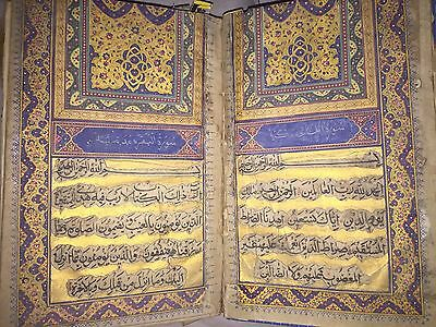 Completely lluminated Quran Manuscript  written by Safiullah Afi Anha ,1253 H