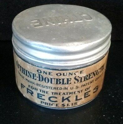 Antique Quack Medicine Jar: For Treatment Of Freckles Milk Glass Pharmacy Beauty
