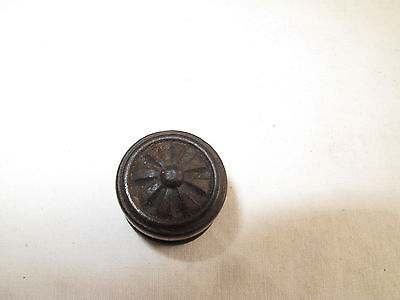 "Antique Ornate Mahogany  Victorian Empire Knob Drawer Pull  1"" D"