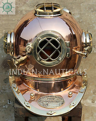 Vintage Boston Mass Us Navy Diving Diver Helmet Solid Copper & Brass Mark V Repo
