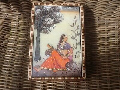 Indian Hand PaintedBeautiful Wood and Marquetry Jewellery Box -Superb Condition