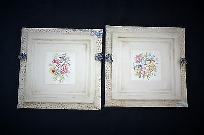 Pair of Old Antique ( Metal )  Tin ceiling tile Upcycled ~ Floral metal art