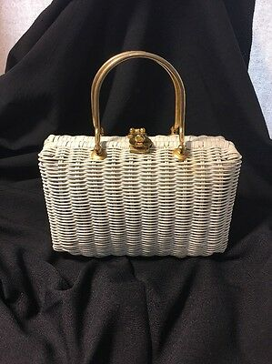 """Vintage 50s 60s """"Its In The Bag"""" Purse White Wicker Made Hong Kong"""