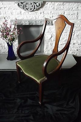 Edwardian Marquetry Inlaid Mahogany Bedroom elbow Armchair Criteria 1910