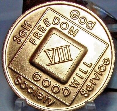Narcotics Anonymous NA 8 Year Clean Bronze Medallion Recovery Coin Chip Token
