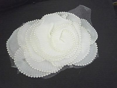 1 pc sem-white/ Offwhite Layer &  Beaded Pleated Flower Applique Sew On C70