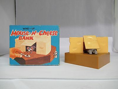 Vintage Mechanical Wind-Up Mouse In Cheese Block Bank, In Box, 820