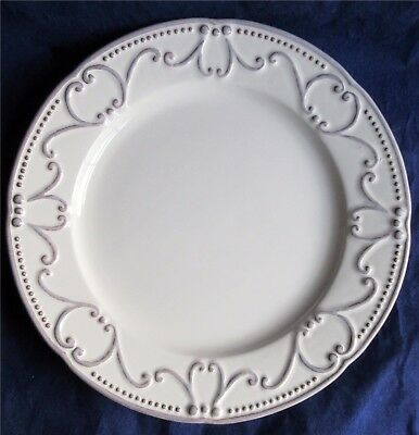 """Bordallo Pinheiro Plate 10"""" Taupe Gray Scrolls With Dots On Ivory BPI47"""