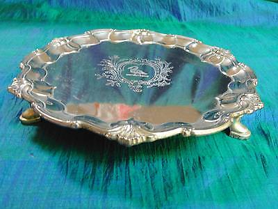 Vtg Raimond Silverplate Ornate Swan Champagne Wine Bottle Footed Coaster Tray 8""