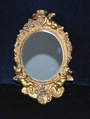 Antique Small Gilt Oval Wall Mirror Decorated with Cherubs & Flowers