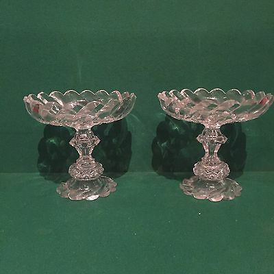 Superb early 19th c Pair Cut Glass Tazza Anglo Irish?