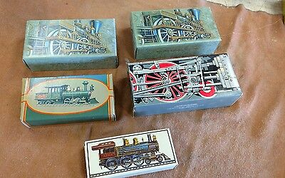 Lot of 5 Vintage Collectible Avon Train Decanters with boxes 1 full 4 empty