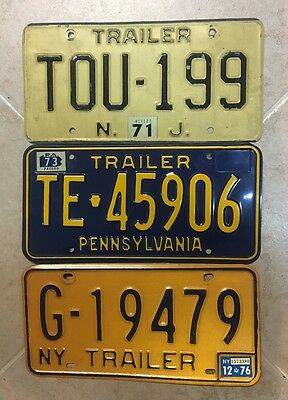 Lot of 3 Vintage Trailer License Plates New Jersey Pennsylvania New York 1970s