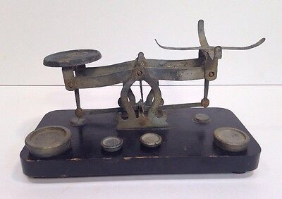 Antique 19th c Small Wood and Metal Dry Goods Scale