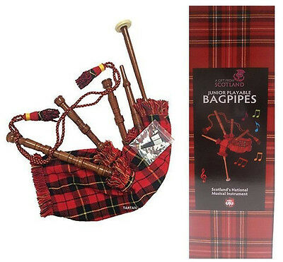 JUNIOR PLAYABLE BAGPIPES Child Learning Music Tartan Scottish Pipes Piper Xmas