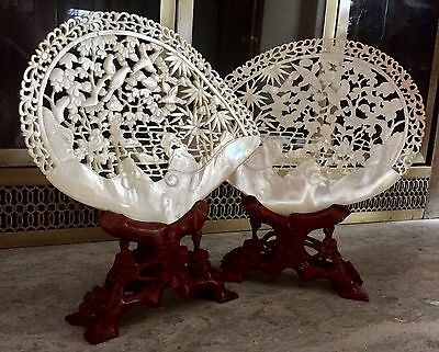 Fine Mirrored Pair Canton Chinese Qing Dynasty Carved Mother Of Pearl Shell