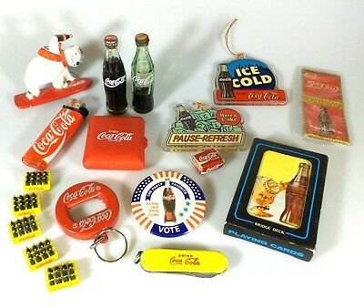 *ESTATE* 18pc COCA-COLA COKE COLLECTIBLES - PIN, CARDS, ORNAMENTS, BOTTLES+MORE