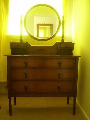 Vintage Wood Dressing Table With Mirror And Drawers