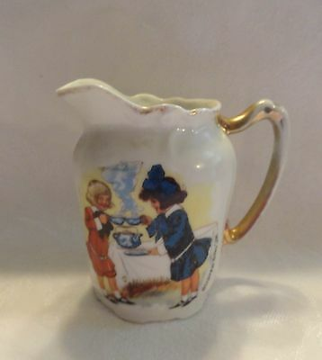 Buster Brown Shoes Porcelain Cream Pitcher Tea Party Scene Germany