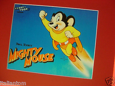 Mighty Mouse Matted Cel Cell Animation Cartoon Art