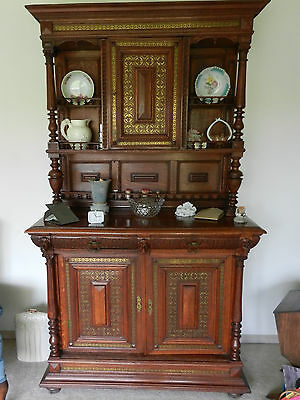 Antique Wine Cabinet With Carved Heads and Inlay Brass