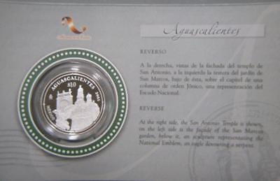 2005 Mexico Silver 1oz 10 Pesos Aguascalientes Proof Stage 2 Mint Package #1292