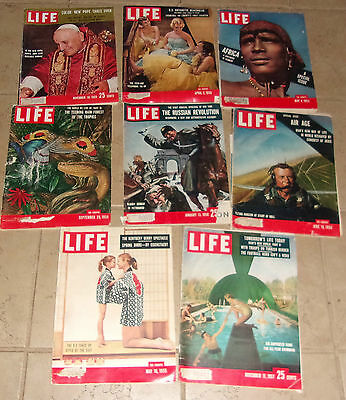 Lot of 8 Life Magazines from the 1950's
