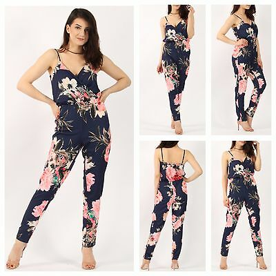 New Womens Ladies Sleeveless Floral Print Wrap Over V Neck Cami Jumpsuit Catsuit