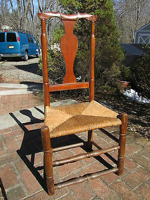 Antique American 18Th C Queen Anne Side Chair Rush Seat Flute Crest Strong Maple