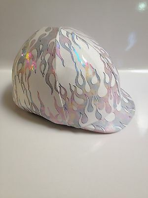 Horse Helmet Cover White With Holigraphic Flames Lycra AUSTRALIAN  MADE