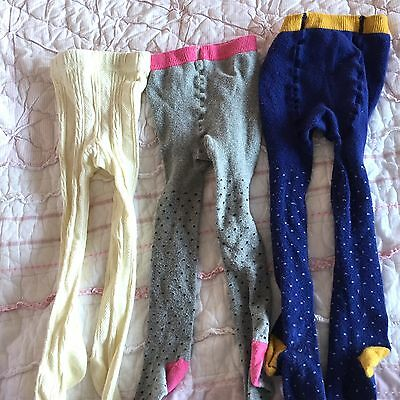 Mini Boden Lot Baby Girl 3 prs Tights 1 2 Years 12-24m 12 24 Dots
